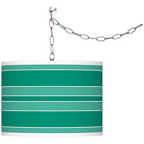 Leaf Green Bold Stripe Giclee Glow Plug-In Swag Pendant