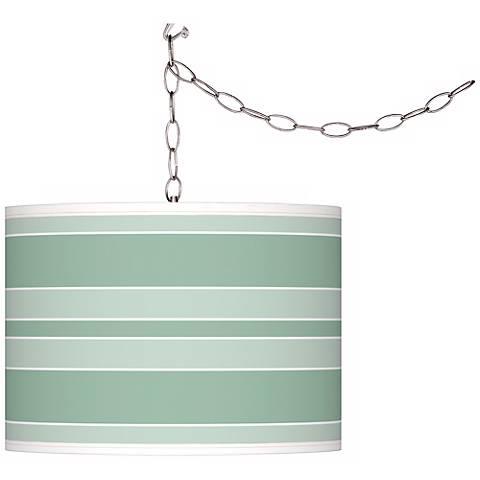 Grayed Jade Bold Stripe Giclee Glow Plug-In Swag Pendant