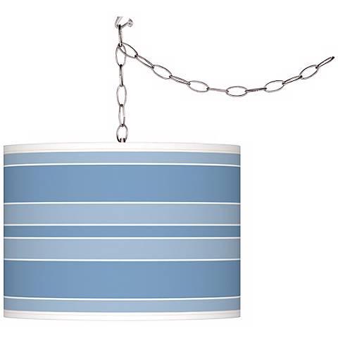 Dusk Blue Bold Stripe Giclee Glow Plug-In Swag Pendant