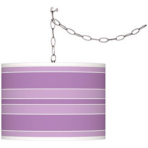 African Violet Bold Stripe Giclee Glow Plug-In Swag Pendant