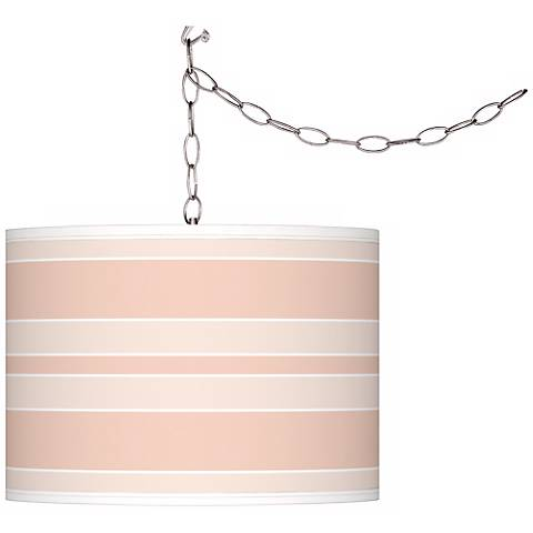 Linen Bold Stripe Giclee Glow Plug-In Swag Pendant