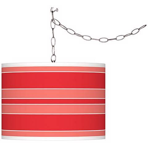 Poppy Red Bold Stripe Giclee Glow Plug-In Swag Pendant