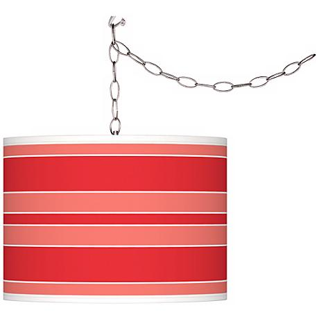 Poppy Red Bold Stripe Giclee Glow Plug-In Swag Pendant