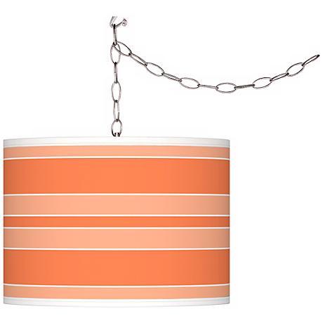 Nectarine Bold Stripe Giclee Glow Plug-In Swag Pendant