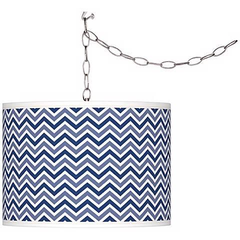 Monaco Blue Narrow Zig Zag Giclee Glow Plug-In Swag Pendant