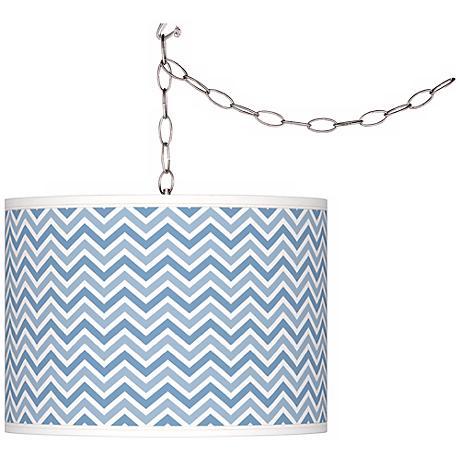 Dusk Blue Narrow Zig Zag Giclee Glow Plug-In Swag Pendant