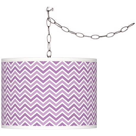African Violet Narrow Zig Zag Giclee Glow Plug-In Swag Pendant