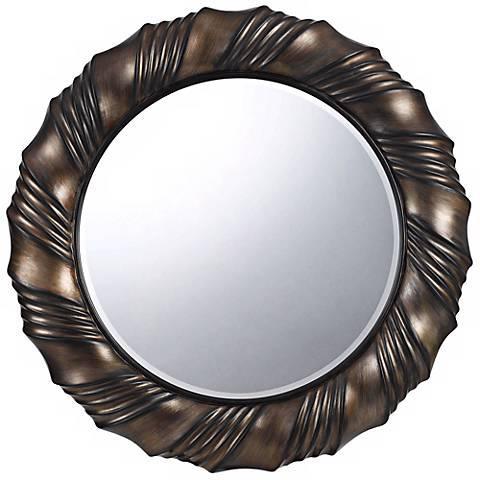 """Starke Round 33"""" Dark Bronze Wall Mirror"""