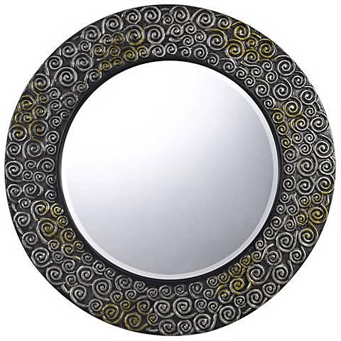 "Salisbury Round 32"" Scroll Pattern Wall Mirror"