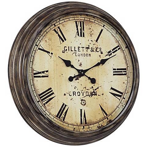 "Cooper Classics Frye 27 1/2"" Wide Aged Wall Clock"