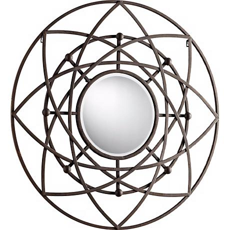 "Robles 39"" Round Decorative Iron Wall Mirror"