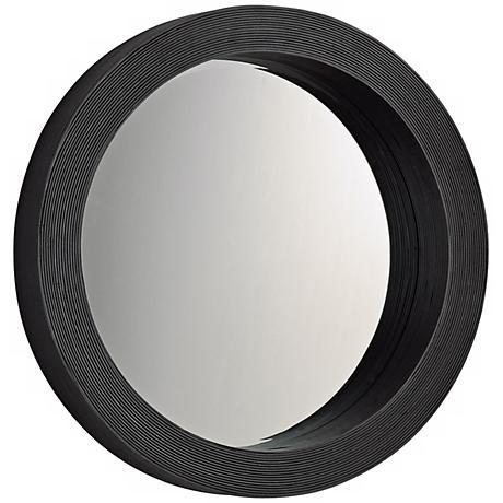 """Round Espresso 27"""" Wide Wood Wall Mirror"""