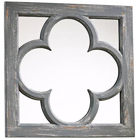 "Ashwell 16 3/4"" Wide Gray Wood Wall Mirror"