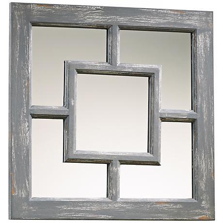 "Ashbury 17"" Square Distressed Gray Wall Mirror"