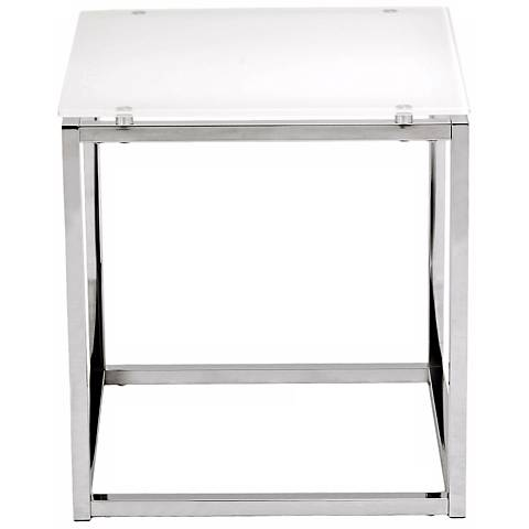 Sandor Pure White Glass Side Table