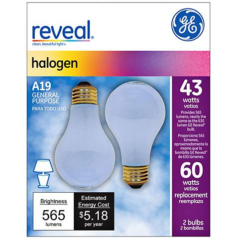 43 watt s A19 2PK Halogen Reveal bulb