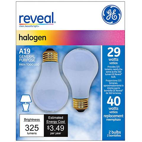 29 watt s A19 2PK Halogen Reveal bulb