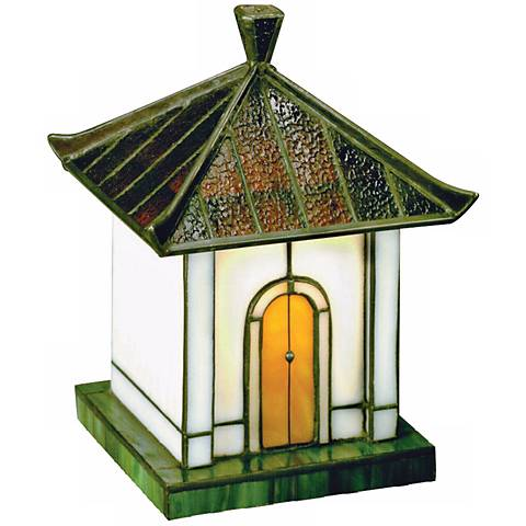 Pagoda Collection Green Tiffany Style Glass Accent Light