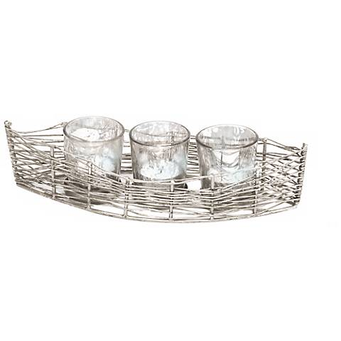 "Costa Brava 11""W Iron Mercury Glass Votive Candle Holder"