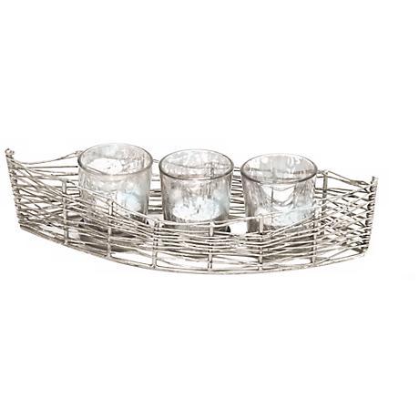 "Costa Brava 11""W Iron Mercury Glass Votive Candle Holder"
