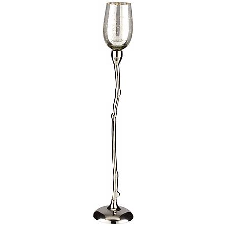 "Costa Brava 24 1/2"" High Shiny Nickel Tealight Candle Holder"