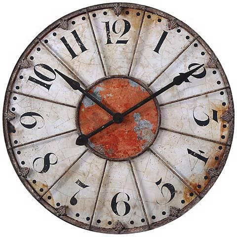 "Uttermost Ellsworth 29"" Wide Aged Wall Clock"
