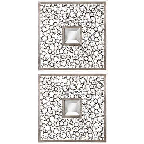"""Set of 2 Uttermost Colusa Squares 20"""" Wide Wall Mirrors"""