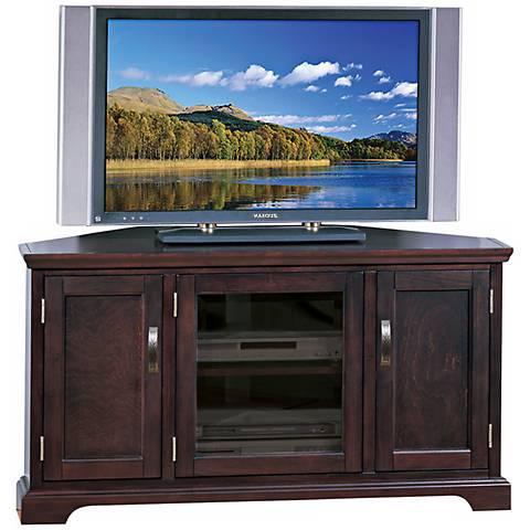 Leick Furniture Cherry and Bronze Corner TV Stand
