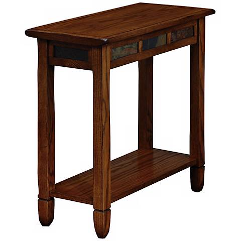 Leick Furniture Rustic Slate And Oak End Table X8381 Lamps Plus