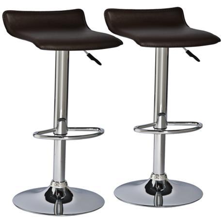 Leick Furniture Set of 2 Brown Adjustable Bar Stools