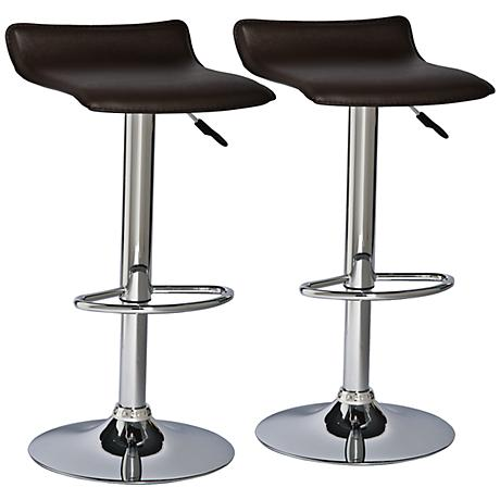 leick furniture set of 2 brown adjustable bar stools x8411 lamps plus. Black Bedroom Furniture Sets. Home Design Ideas