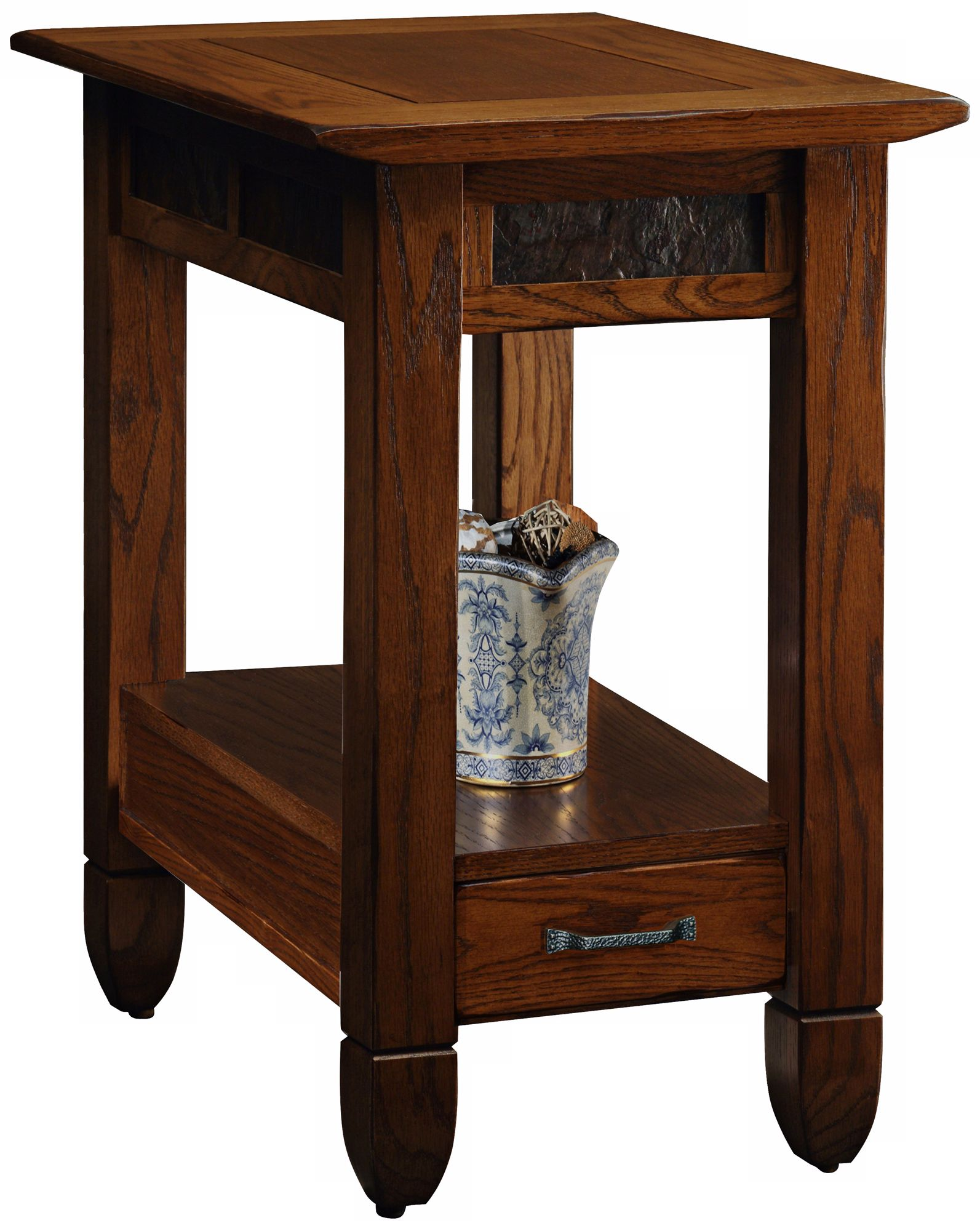 Leick Furniture Slatestone Rustic Oak End Table