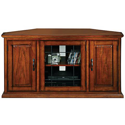 Leick Furniture Oak Leaded Glass Corner TV Stand