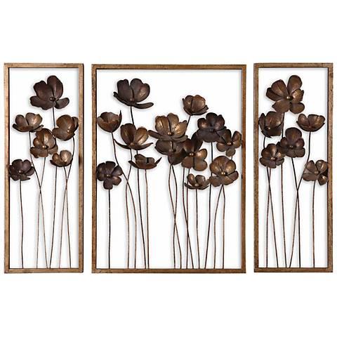 "Set of 3 Uttermost Tulips 40"" Wide Metal Wall Art"
