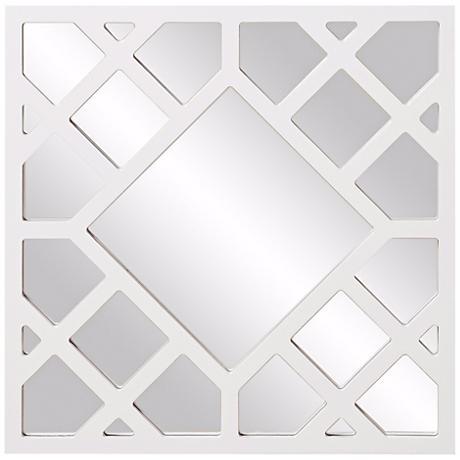 """Howard Elliott Anakin White 24"""" Lattice Wall Mirror"""