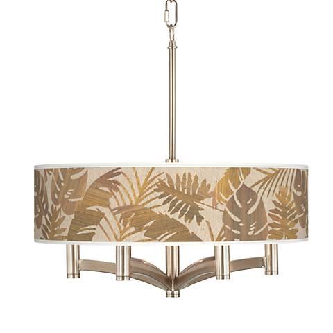 Tropical Woodwork Ava 6-Light Nickel Pendant Chandelier