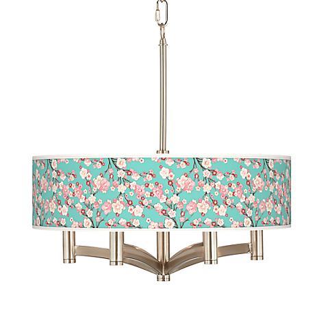 Cherry Blossoms Ava 6-Light Nickel Pendant Chandelier