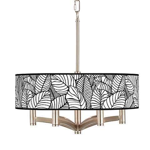 Tropical Leaves Ava 6-Light Nickel Pendant Chandelier