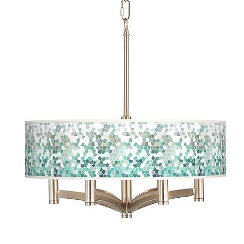 Aqua Mosaic Ava 6-Light Nickel Pendant Chandelier