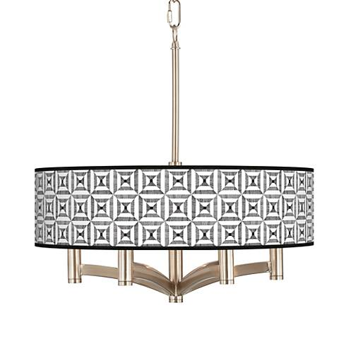 Tile Illusion Ava 6-Light Nickel Pendant Chandelier