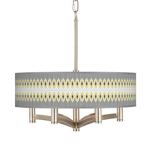 Desert Geometric Ava 6-Light Nickel Pendant Chandelier
