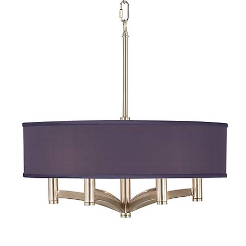 Eggplant Faux Silk Ava 6-Light Nickel Pendant Chandelier
