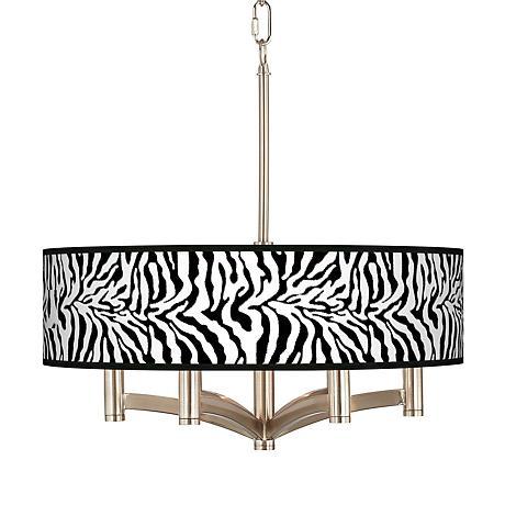 Safari Zebra Ava 6-Light Nickel Pendant Chandelier