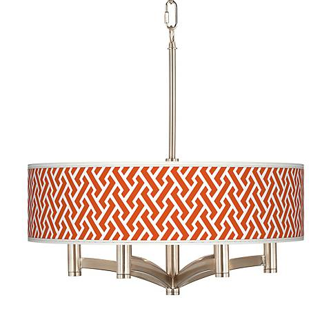Red Brick Weave Ava 6-Light Nickel Pendant Chandelier