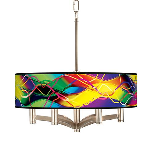 Colors in Motion (Light) Ava 6-Light Nickel Pendant Light