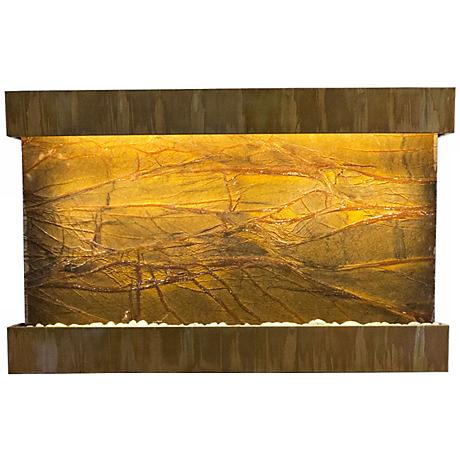 """Quarry Marble and Copper 51"""" Wide Indoor Wall Fountain"""