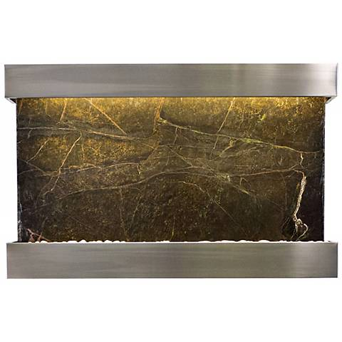 """Quarry Green Marble and Steel 51"""" Wide Wall Fountain"""