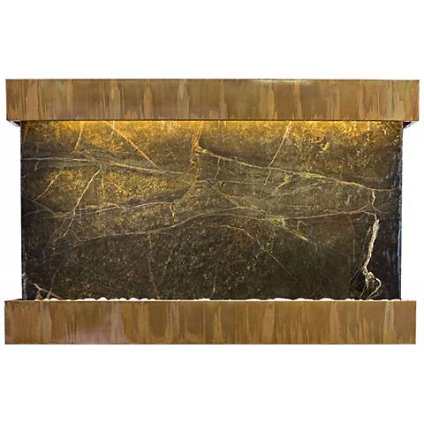 "Quarry Green Marble Copper Patina 51"" Wide Wall Fountain"