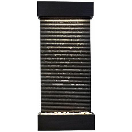 "Classic Quarry 58"" High Granite and Black Onyx Wall Fountain"
