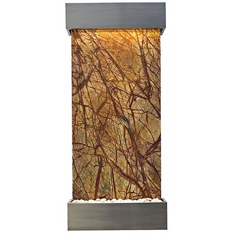 "Classic Quarry 58"" Brown Marble and Stainless Wall Fountain"